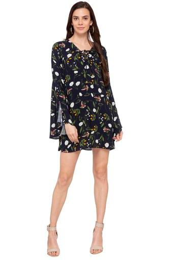 Womens Tie Up Neck Printed Shift Dress