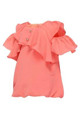 Girls Round Neck Solid Top