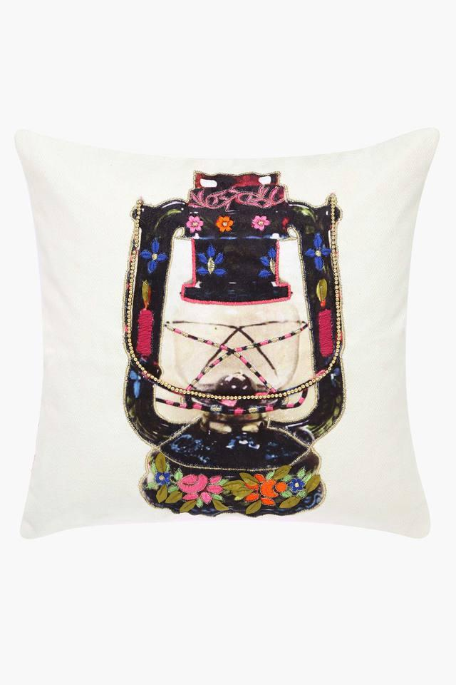 Square Lantern Embroidered Cushion Cover