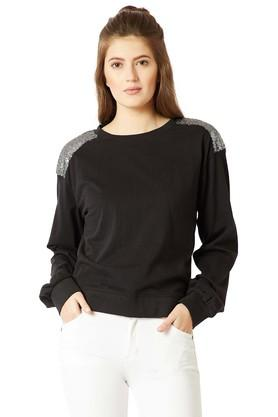 MISS CHASE Womens Round Neck Solid Paneled Sequined Sweatshirt