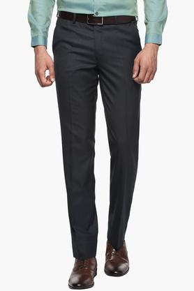 WILLS LIFESTYLE Mens Slim Fit 4 Pocket Slub Formal Trousers