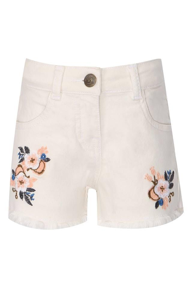Girls 4 Pocket Embroidered Shorts