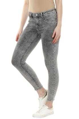 Womens 4 Pocket Acid Wash Jeans