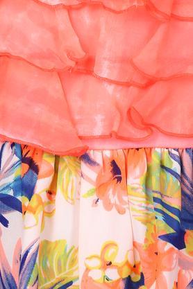 Girls Spaghetti Neck Floral Print Flared Dress