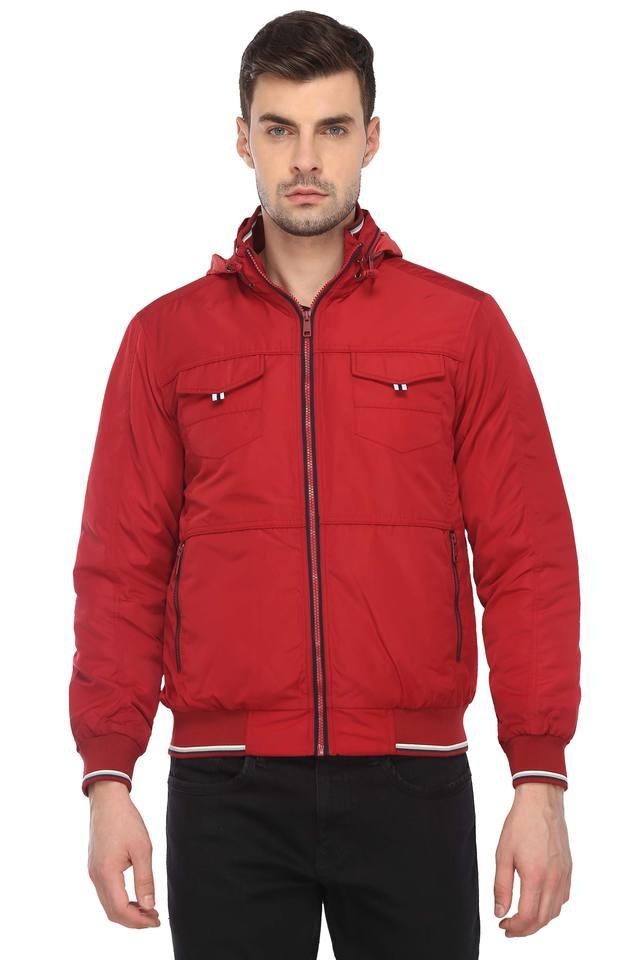 Mens Hooded Neck Solid Jacket