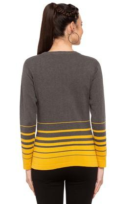 Womens Round Neck Striped Sweater