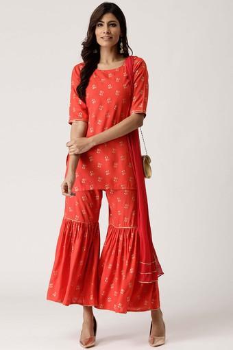 Womens Round Neck Printed Kurta and Sharara Pant Set