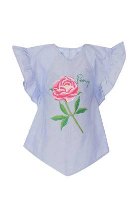 Girls V Neck Embroidered Top