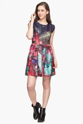 X LIFE Womens Round Neck Printed Skater Dress 8fb336c5c