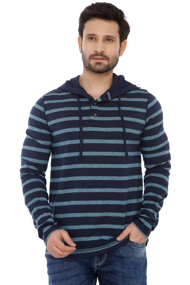 Mens Striped Hooded T-Shirt