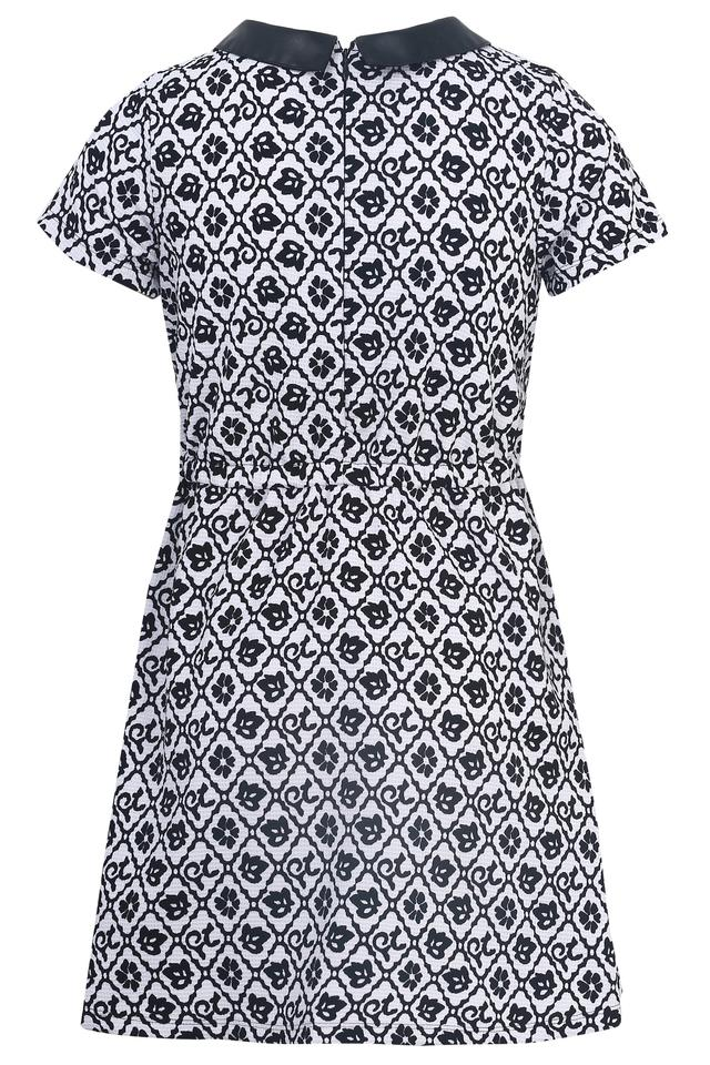 Girls Peter Pan Collar Printed Flared Dress