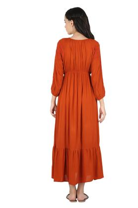 Womens Round Neck Embroidered Maxi Dress