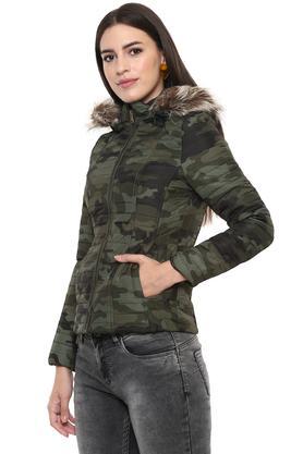 Womens Hooded Neck Camouflage Jacket