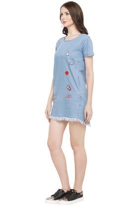 Womens Round Neck Short Dress
