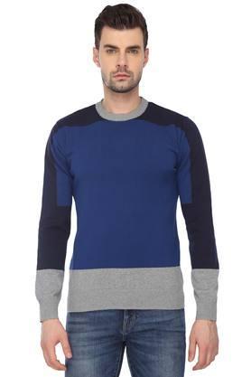 INDIAN TERRAINMens Round Neck Colour Block Sweater