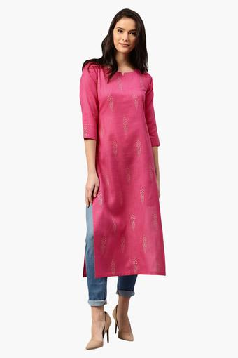 Womens Round Neck Printed Straight Fit Kurta