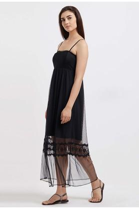 Womens Spaghetti Neck Lace Maxi Dress