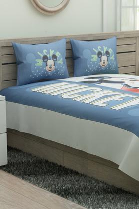 Mickey Mouse Print Double Bed Sheet with 2 Pillow Covers