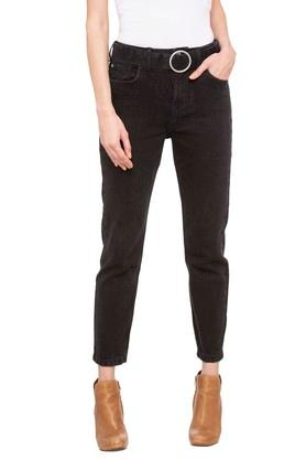 Womens 5 Pocket Coated Jeans (Mom Fit)