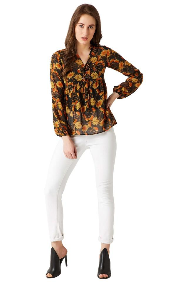 Womens Mandarin Neck Floral Print Top