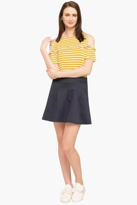 Womens Solid Mini Skirt