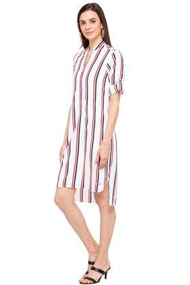 Womens Mandarin Collar Stripe Shirt Dress