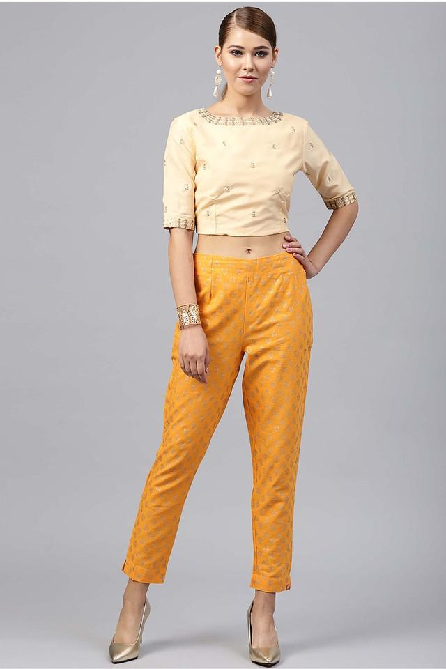 Womens Round Neck Printed Crop Top and Pant Set