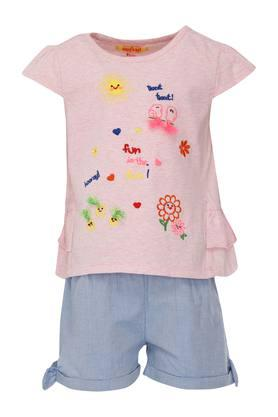 6cdc969987 X NAUTI NATI Girls Round Neck Embroidered Top and Slub Shorts
