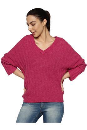 Womens V Neck Slub Pullover