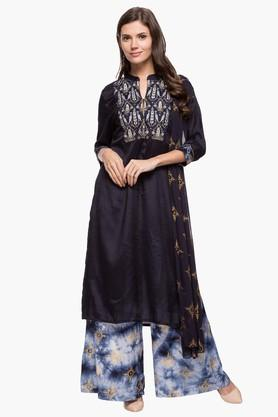 HAUTE CURRYWomens Mandarin Neck Embroidered Palazzo Suit