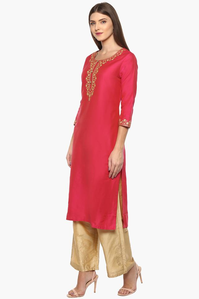 Womens Round Neck Embroidered Kurta and Palazzo Set