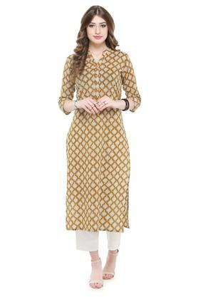 VARANGA Women Cotton Floral Print Straight Kurta
