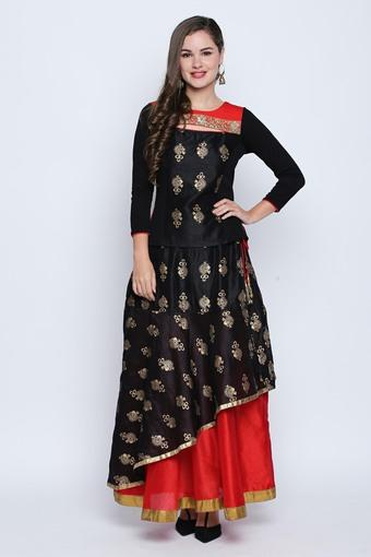Womens Round Neck Printed Lehenga Choli