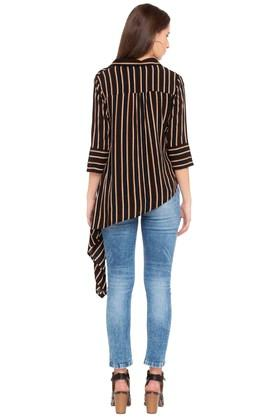 Womens Striped Asymmetric Casual Shirt
