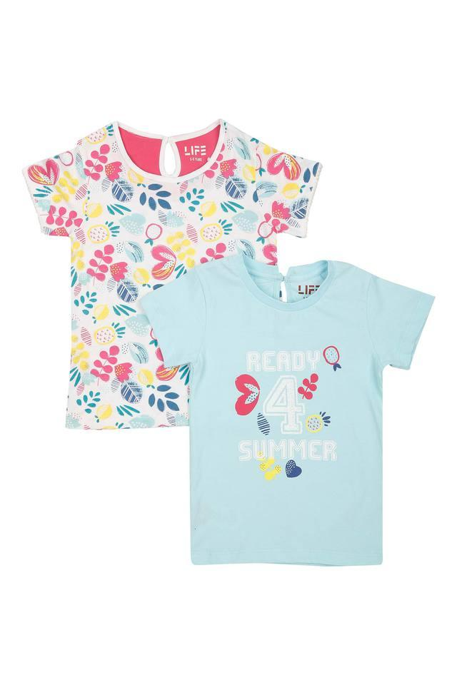 Girls Round Neck Printed Top Pack of 2