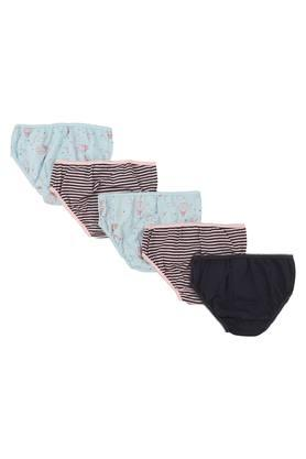 Girls Printed Solid and Stripe Briefs - Pack of 5