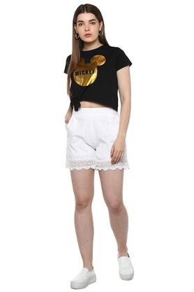 Womens Round Neck Graphic Print Tie Up T-Shirt