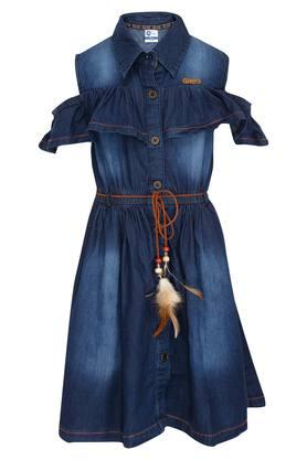 Girls Collared Solid Flared Dress