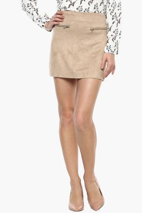 Womens 2 Pocket Slub Mini Skirt