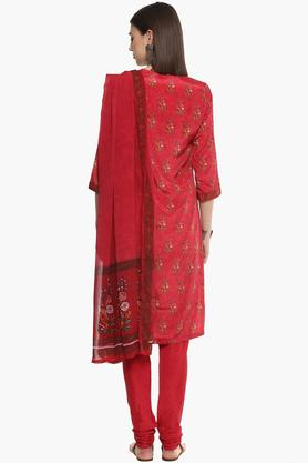 Womens V-Neck Printed Churidar Suit