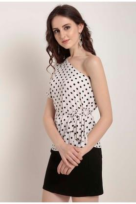 Womens One Shoulder Polka Dot Top