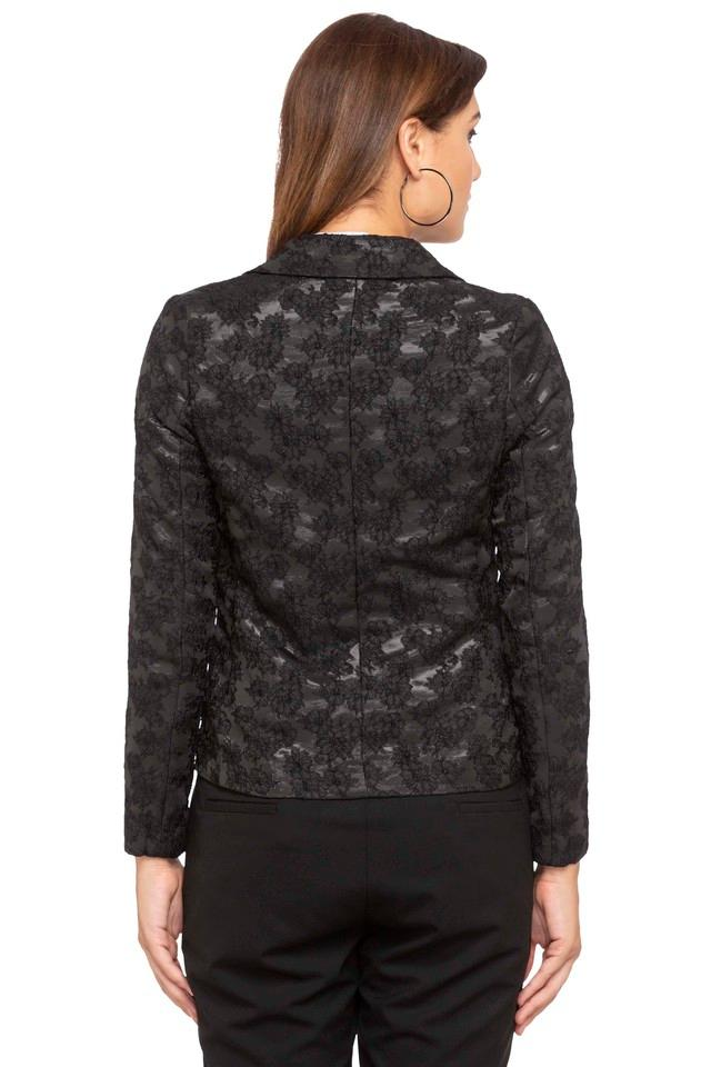 Womens Notched Lapel Printed Blazer