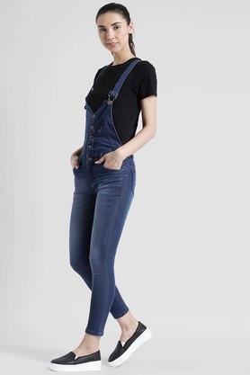 Womens 5 Pocket Whiskered Effect Dungarees