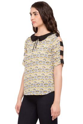 Womens Peter Pan Collar Printed Top