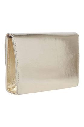 Womens Metallic Lock Closure Sling Clutch
