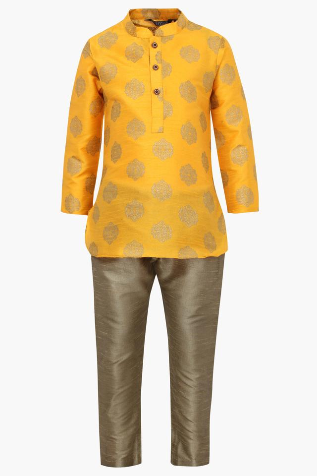 Boys Mandarin Neck Printed Kurta Pyjama Set