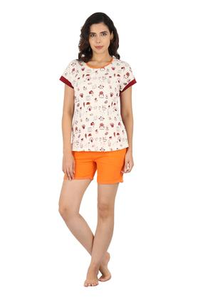 Womens Round Neck Printed Top Shorts and Capris Set