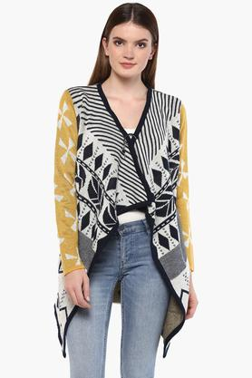 ONER Womens V-Neck Knitted Pattern Cardigan
