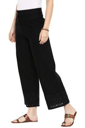 Womens Cotton Flex Solid Palazzo Pants With Schiffly Border