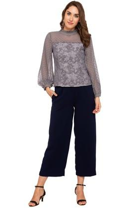 Womens Ruffled Collar Lace Sheer Yoke Top
